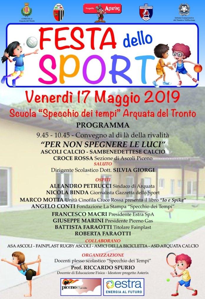 La locandina della Festa dello sport 2019 di Arquata