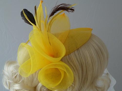 Wedding Hats 4U Large Bright Fascinator In Yellow