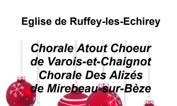 Concert de Noël Samedi 2 décembre 20h30 à Ruffey lès Echirey