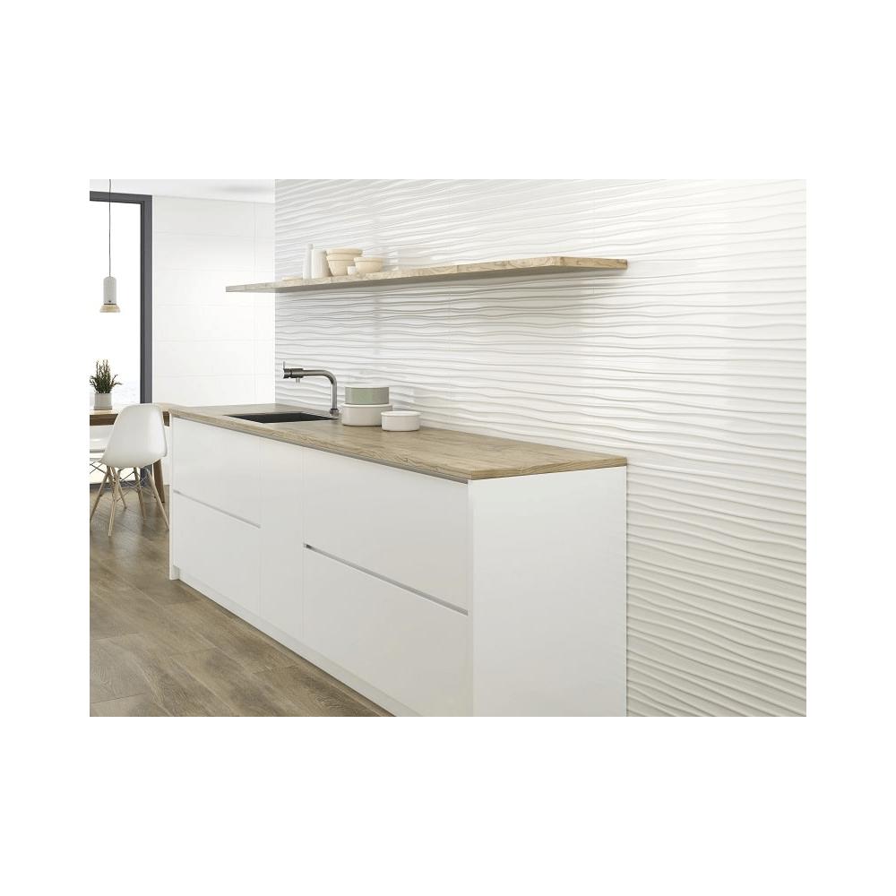 faience moderne unie blanche brillante a relief 30x90 cm wichita rectifie 1 08m