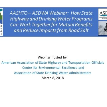 How State Highway and Drinking Water Programs Can Work Together for Mutual Benefits and Reduce Impacts from Road Salt