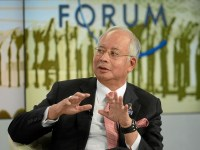 Former Malysian prime minister Najib Razak speaking at