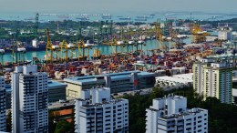 Singapore Port viewed from The Pinnacle@Duxton