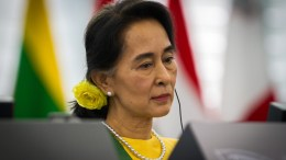 State Councillor Aung San Suu Kyi at the European Parliament in 2013