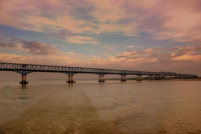 Pakokku Bridge over the Irrawaddy River. The bride is part of the India-Myanmar-Thailand Trilateral Highway