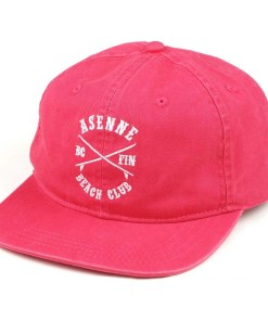 picture of coral red dad cap with white asenne beach club logo in front