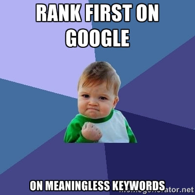 Success kid meme on Google ranking