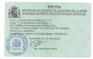 spanish residence certificate