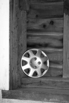 Wheel Cover in Covered Bridge B&W