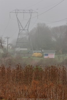 Fog, Tower and American Flag