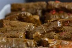 Dolmathakia me Kima: Stuffed Grape Leaves with Meat & Rice