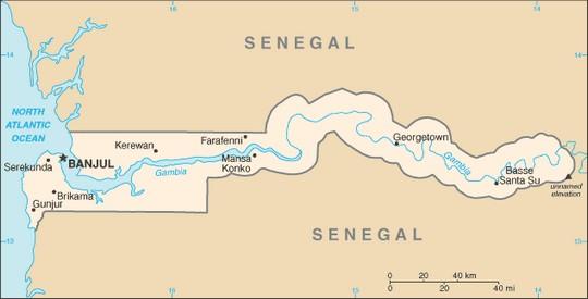 Gambiakarte - Quelle: World Factbook