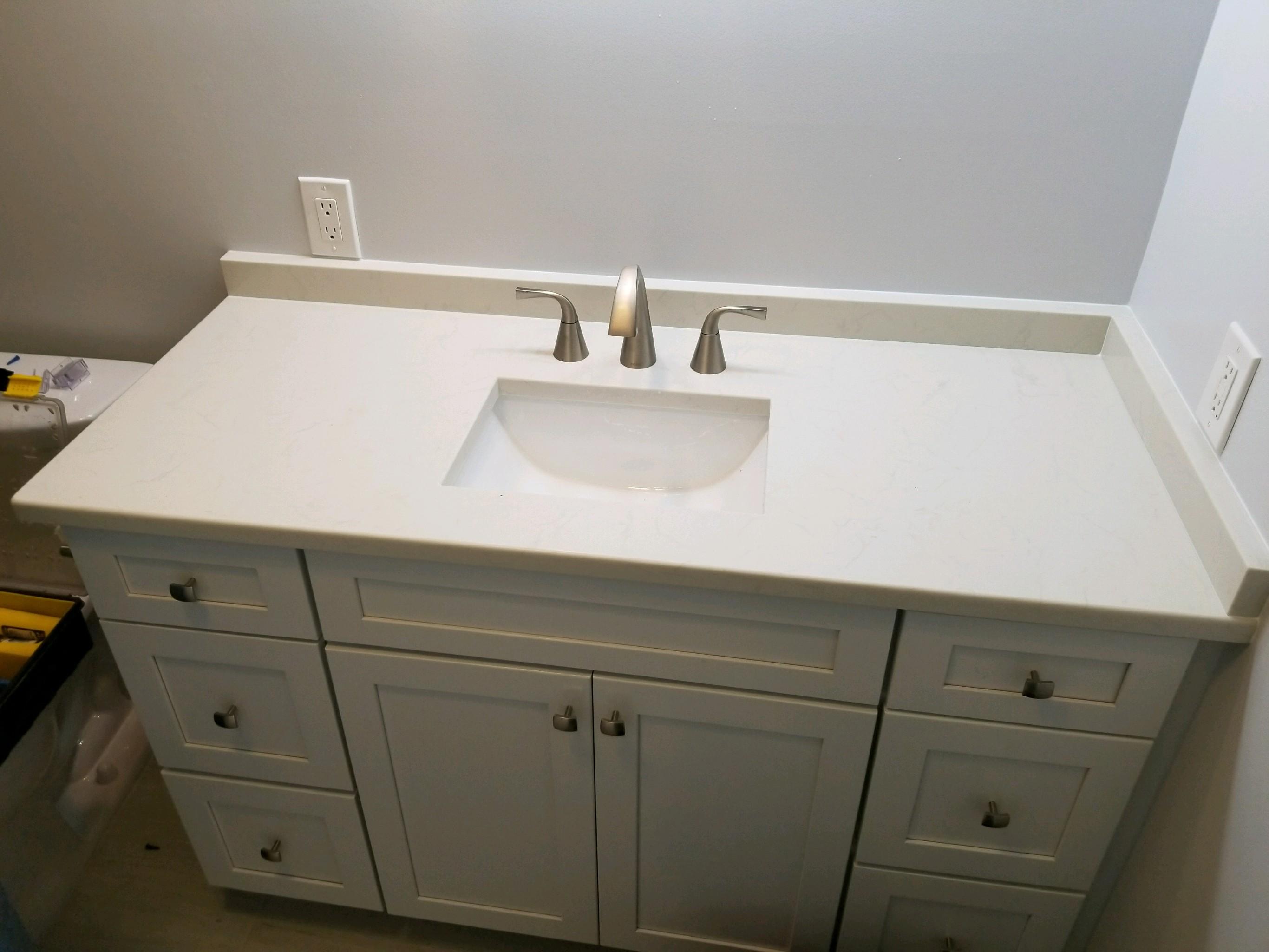 Pelican Winter White Quartz Bathroom Vanity Countertop Remodel In - Bathroom vanities tampa fl