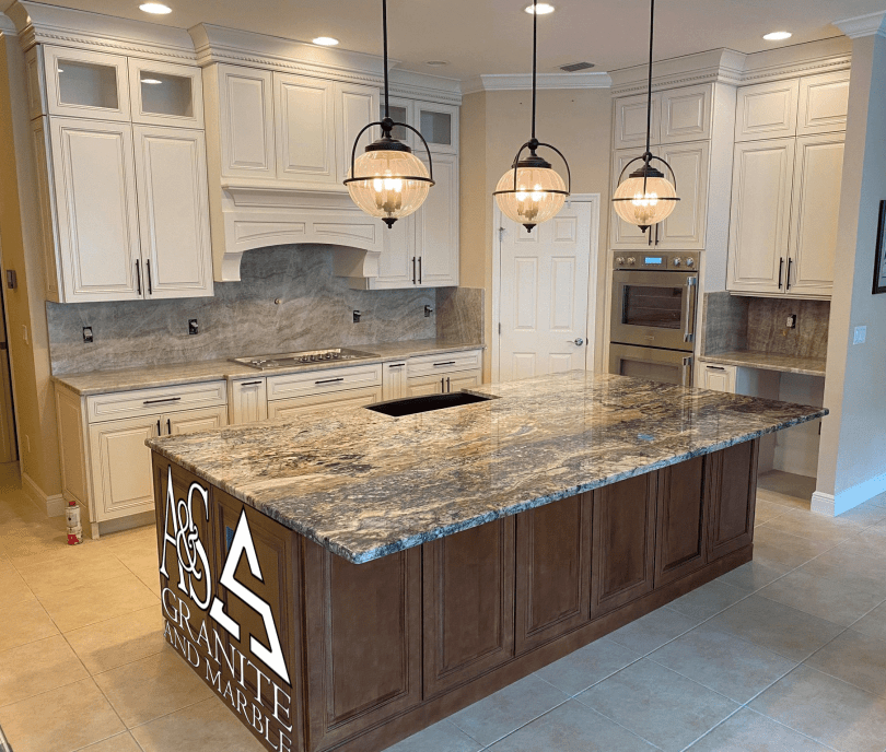 Kitchen Counetertops - Azurite island countertops - Taj Mahal surrounds with Full height backsplash - final picture