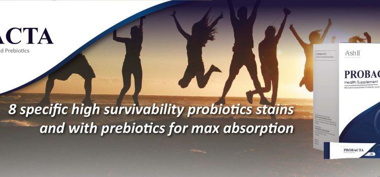 Probiotics - 8 specific high survivability probiotics with prebiotics for gut health
