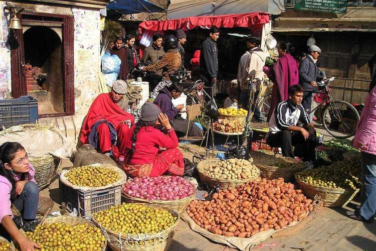 Street market in the old city center of Kathmandu.