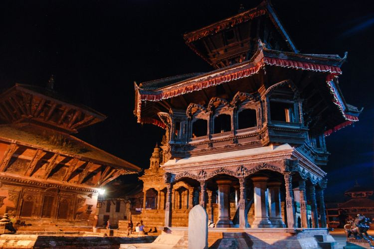 Durbar Square by night.