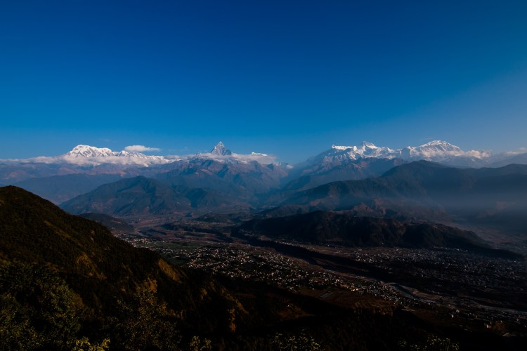 View from Sarangkot on the Annapurna Himalaya Range.