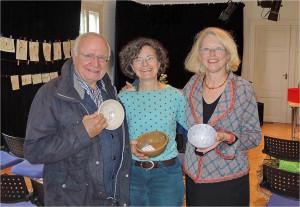 Empty Bowl-Projekt, Dr. Erhard Kropp, Karin Flurer-Brünger, Cornelia Mallebrein (Foto: Ashakiran)