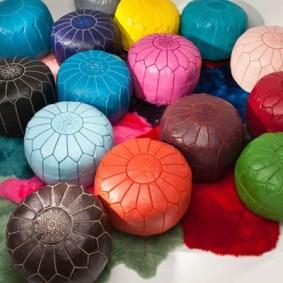 colorful poufs