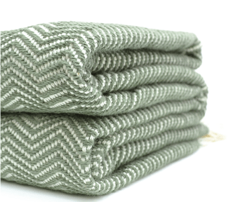 olive herringbone throw