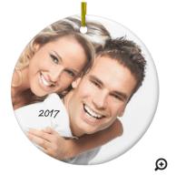 Round ceramic photo ornament