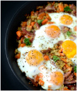 fried eggs with ham quinoa hash