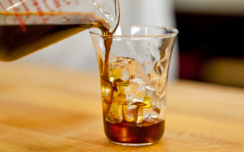 Glass of cold brew coffee in glass