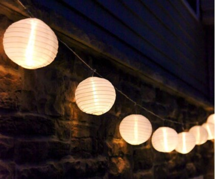 "Party String Lights - White 6"" lantern string lights"