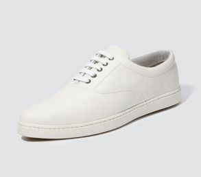 white lace-up sneaker loafers