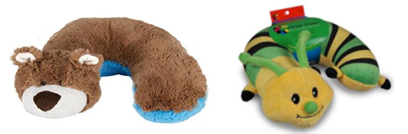 Long distance travel neck pillows, centipede and bear