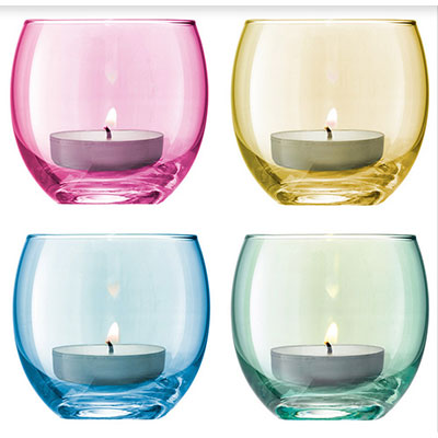 summer candlesticks, set of 4 colored glasses