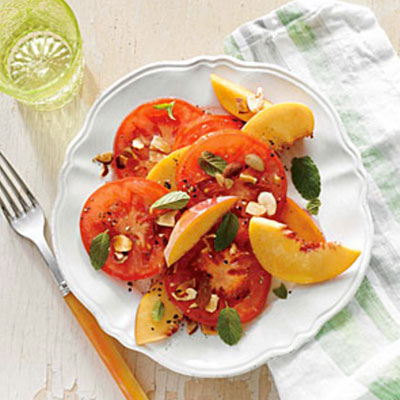 tomato, peach and almond summer salad