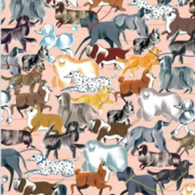 Creative wrapping paper with dogs