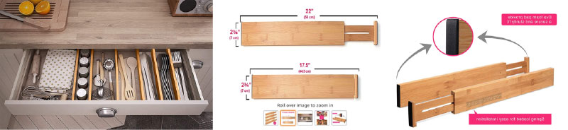 Spring loaded bamboo drawer organizers