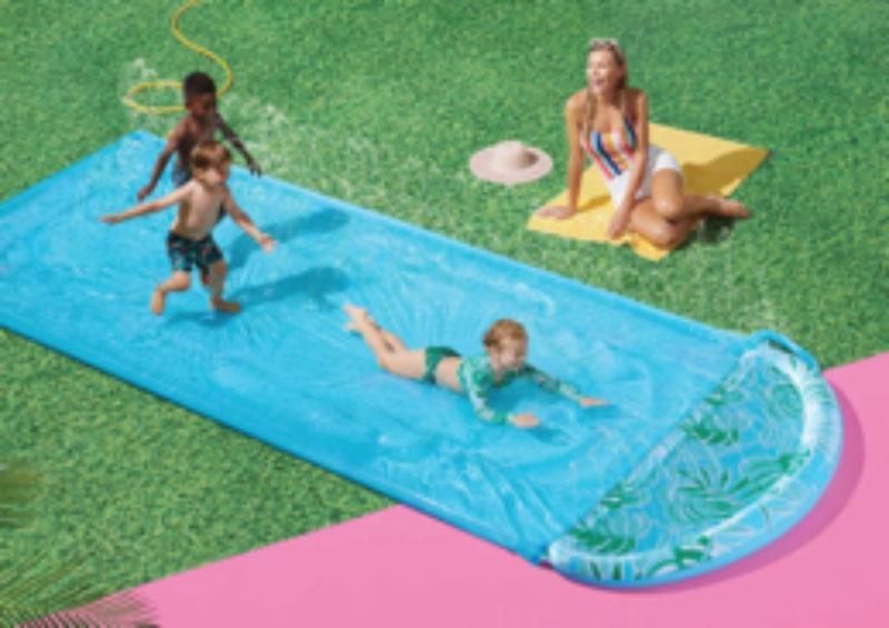water slide and sprinkler