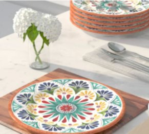 Adah melamine dinner dishes