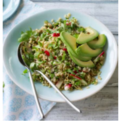Rice bow food with ginger radish avocado