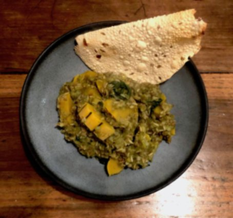 plant-based cooking soup and naan