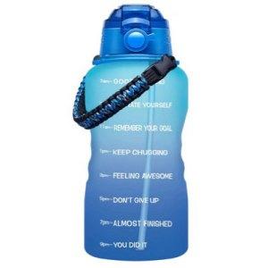 blue motivational water bottle