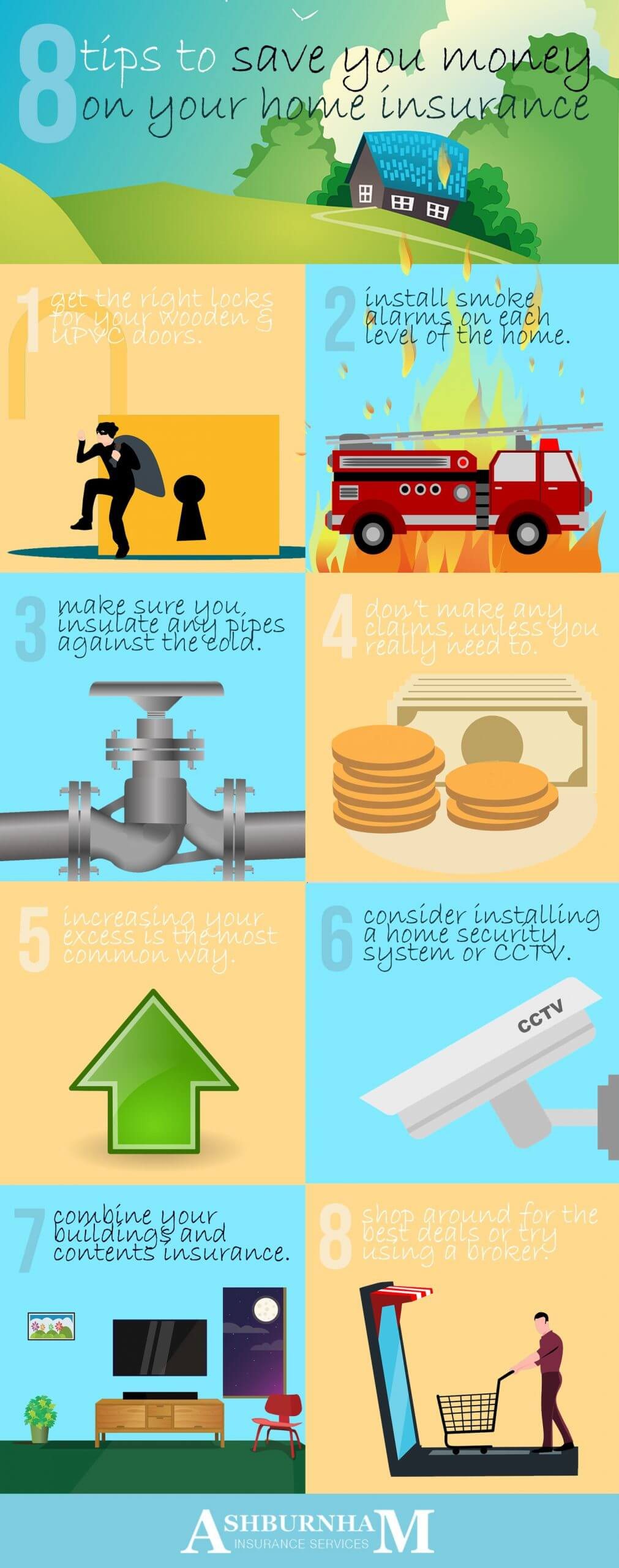 8 Tips To Save Money On Home Insurance Infographic