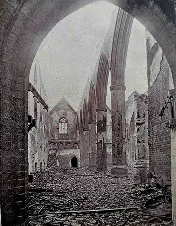 St. Matthew's Church, Southsea, after aerial bombing, January 1941