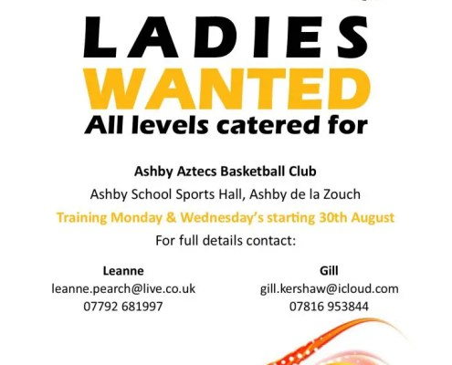 Ashby Aztecs Ladies is looking for Basketball Players