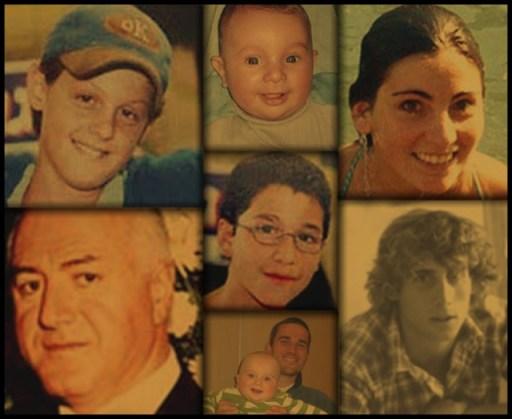 En haut, de droite à gauche : Ester Ohana , Yehuda Haim Shoham , Koby Mandell. Au centre : Yosef Ishran. En bas, de droite à gauche : Stf. Sgt. Benny Meisner , Asher Palmer et son enfant Jonathan, Bachor Jean.