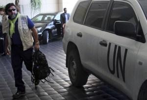 Les experts de l'ONU arrivent à Damas le 25 septembre 2013.
