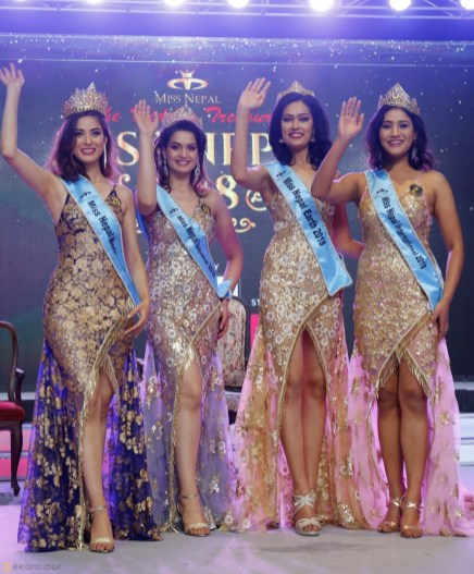 Miss Nepal World 2018 Shrinkhala Khatiwada with 1st, 2nd & 3rd runnerup