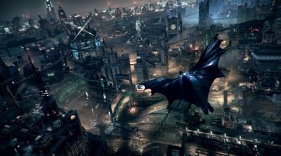 Batman planant sur Gotham