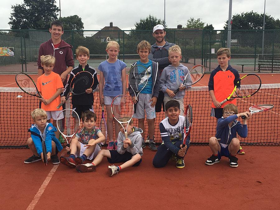 Junior tennis camp group