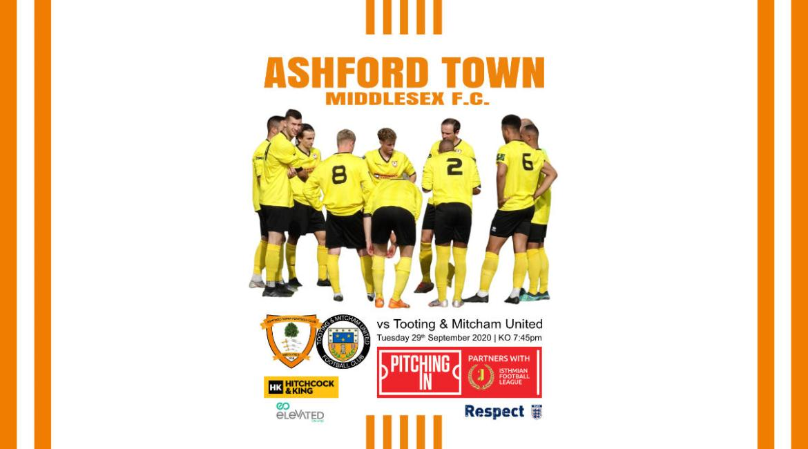 Ashford Town (Middlesex) FC vs Tooting & Mitcham United 2020-2021 Matchday Programme Front Cover Image