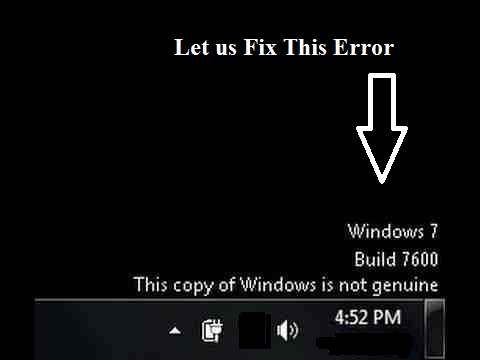 This copy of windows is not genuine error